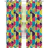 Cortina opaca para ventana, diseño de mosaico de colores trapezoidales W42 x L72 cortinas de oscurecimiento para sala de estar