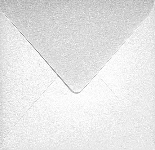 100 Perlmutt-Weiß quadratische Briefumschläge ohne Fenster 153x153mm mm Aster Metallic White Perlweiß Spitzklappe Perlmutt-Glanz-Umschläge Perlglanz metallisch-glänzende Kuverts Metallic-Effekt