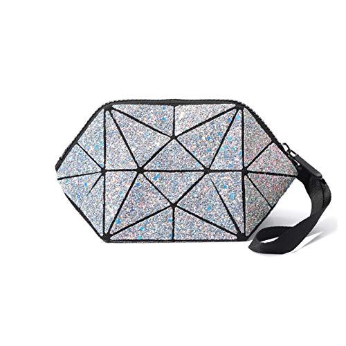 Nicute Geometric Cosmétique Sac à main Lumineux Maquillage Sac à Main Lumineux Géométrique Lumineux Porte-monnaie à Main Treillis Trousse à Cosmétique (Gris)