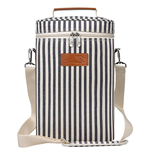 wine travel bag for luggages Tirrinia 2 Bottle Wine Tote Carrier - Leakproof & Insulated & Padded Versatile Cooler Bag for Travel, BYOB Restaurant, Wine Tasting, Party, Great Christmas Gift for Wine Lover, Stripe