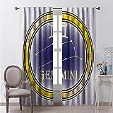Toopeek Zodiac Gemini Cortina de color resistente al desgaste con símbolos y constelación Destiny and Stars Theme Tela impermeable W72 x L72 pulgadas, azul marino, amarillo y naranja