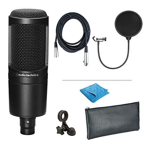 Audio-Technica AT2020 Cardioid Condenser Microphone Bundle with Pop Filter, XLR Cable, and Austin Bazaar Polishing Cloth
