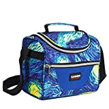 Football Lunch Bags for Kids Insulated Lunch Box Cooler Reusable Bento Tote Bag with Adjustable Strap and Zip Closure 10L Large Capacity for School Picnic Outdoor Activities