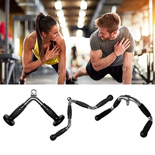 Juego de accesorios de máquina de cable para gimnasio, Barra de presión de tríceps de acero sólido con empuñaduras de goma y percha giratoria, manija de fitness