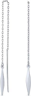 Sencillo ligero largo minimalista geométrico lineal Rommbus diamond-shape cadena threader pendientes para mujeres adolescentes .925 plata de ley
