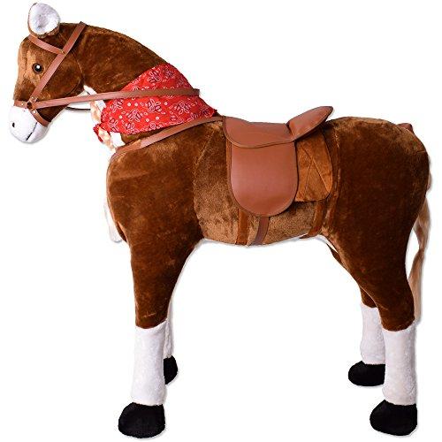 TE-Trend Reitpferd XXL Pferd Stehpferd Standpferd Sattel Schaukeltier Spielzeug Plüsch Reitpferd für Kinder 114cm Länge Hellbraun