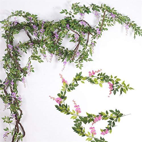 Joycaling Plantas artificiales de 2 piezas de flores artificiales de tela para novia de color violeta artificial para el hogar, jardín, fiesta, boda, decoración interior y exterior