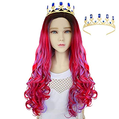 Anogol Wig+{ 1 Blue Crown } Long Curly Wig for Women-Adult-Red Mix Blue Wig with Dark Roots for Women Comic Synthetic Wig for Princess Wig Queen