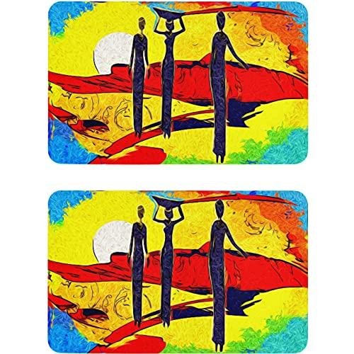 Vnurnrn Imán para lavavajillas con pintura abstracta para mujer africana, placa magnética, placa decorativa para cocina, oficina, lavadora, 2 unidades