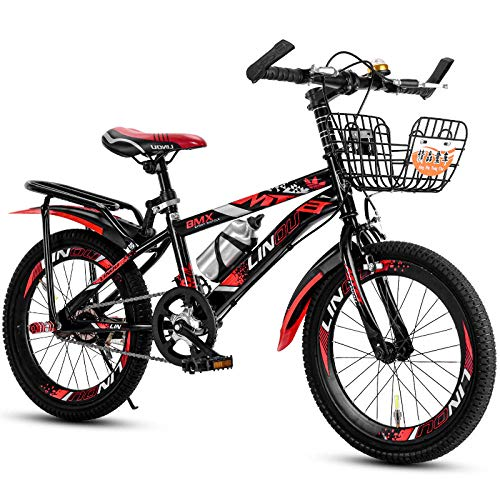 laonie Children's bicycle student bike 18-22 inch single speed variable speed mountain bike disc brake bicycle-Red single speed + hanger frame_20 inches