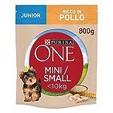 Purina One Mini croquetas para Perro Junior Rico en Pollo, con arroz, para Perros de hasta 10 kg, 8 Bolsas de 800 g Cada una.