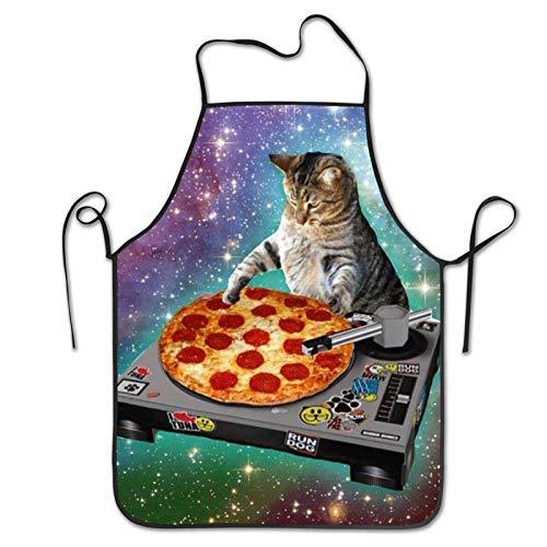 INTFULIHU Delantal de cocina para hombre y mujer, con diseño de gato y pizza, para cocinar a la parrilla, hornear, cielo estrellado, con diseño de animales