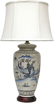 Large Blue Oriental Ceramic Table Lamp (M12790) – Chinese Mandarin Style Perfect for All Living Rooms & Bedrooms – Superb Quality
