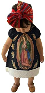 Baby Girl's Virgen Maria Dress Round Neck Short Sleeve...