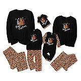 Family Matching Christmas Pajamas Set Long Sleeve Top and Pants PJs Sleepwear (Women : M, Black+Leopard)
