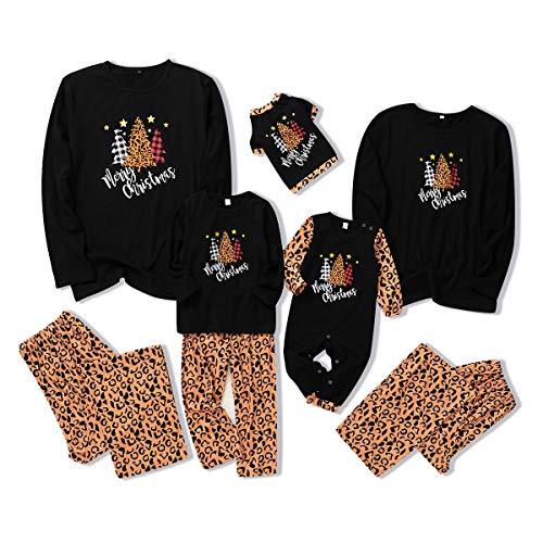 Conjunto de pijamas de Navidad a juego de la familia, camiseta de manga larga y pantalones ropa de dormir para mascotas, bebé, niños y adultos Negro + estampado de leopardo. 12-18 meses