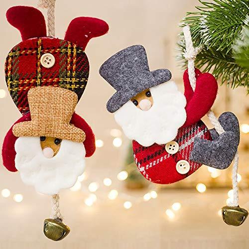 Catkoo Adornos Navideños De Felpa, Adorable Muñeco De Papá Noel Jingle Bell Árbol De Navidad Decoración De...