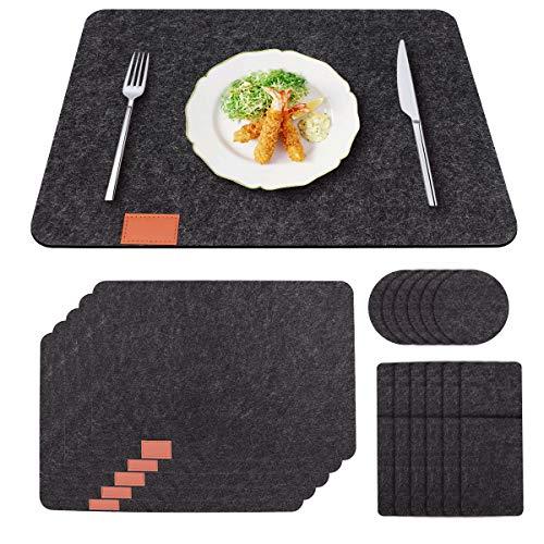 Woputne Platzset abwischbar aus Filz | 18-Teiliges Set Tischläufer-6 Tischset abwaschbar, 6 Filzuntersetzer, 6 Bestecktaschen | Platzdeckchen abwaschbar | Tischuntersetzer Filzmatte Set Anthrazitfarbe
