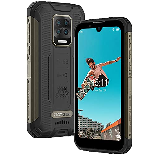 DOOGEE S59 PRO Handy ohne Vertrag, IP68 Stoßfest Robustes Smartphone, 10000mAh Akku Lautsprecher 4 LED Outdoor Handy, Octa Core 4GB+128GB, 16MP AI Quad-Kamera Smartphone Dual SIM NFC (Schwarz)