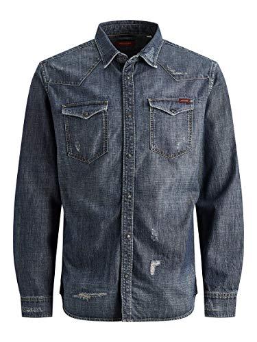 Jack & Jones Jjijames Jjshirt Cj 034 Camisa Vaquera, Azul (Blue Denim Blue Denim), Large para Hombre