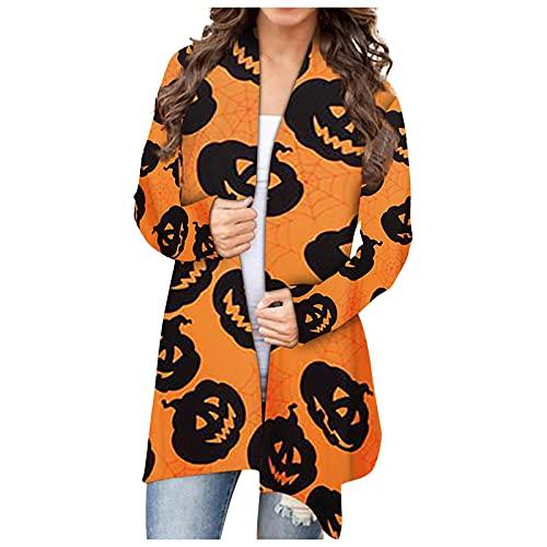 Mujeres Halloween Animal Gato Calabaza Print Cardigan Otoño Capa Blusa SW830428, naranja, XXL
