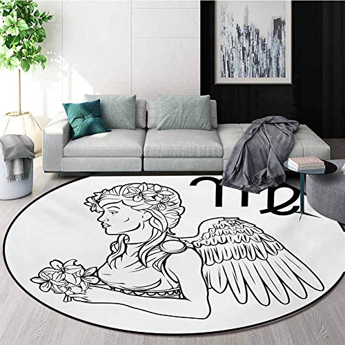 Why Should You Buy RUGSMAT Zodiac Virgo Carpet Gray Round Area Rug,Astrological Angel Carrying A Bou...