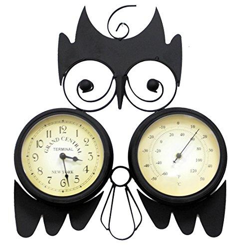 Tinas Collection Horloge Murale en Forme d'un Hibou Fer FORGÉ avec Un Station MÉTÉO ET Pot DE Fleur pour INTÉRIEUR ET EXTÉRIEUR
