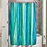 iDesign Ombre Fabric Shower Curtain for Master, Guest, Kids', College Dorm Bathroom, 72' x 72' - Blue and Green