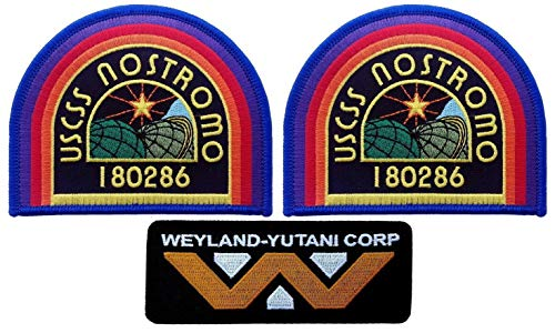 Titan One Europe USCSS Nostromo Weyland Yutani Corp Alien Movie Collector Uniform Cosplay Patch Set Conjunto 3 Parches Aufnäher Aufbügler Patch