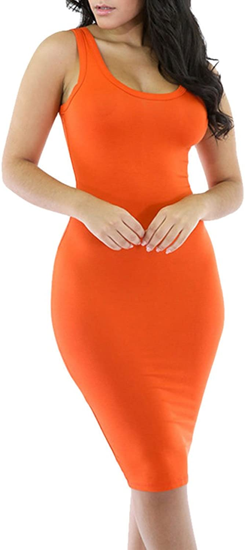 Meenew Womens Summer Sleeveless Round Neck Basic Midi Bodycon orange Tank Dress XL