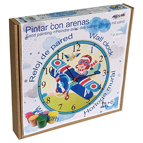 Arenart | Lámina Reloj Aviador Ø30 cm | para Pintar con Arenas de Colores | Manualidades para Niños | Dibujo Infantil | Pintar por números | +6 años