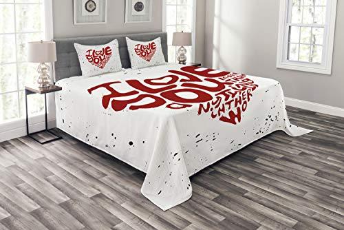 ABAKUHAUS Ich Liebe Dich mehr Tagesdecke Set, Grungy Herz-Formular, Set mit Kissenbezügen Kein verblassen, für Doppelbetten 264 x 220 cm, Rost schwarz-weiß