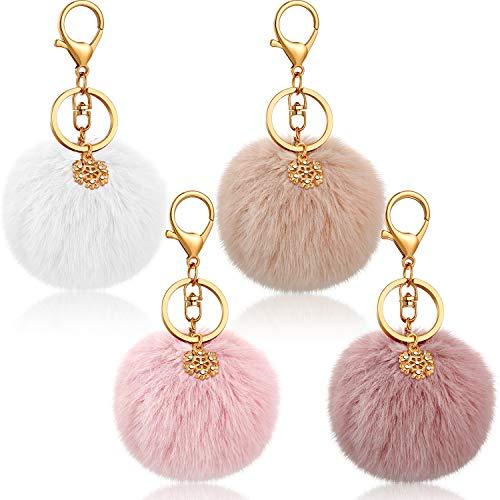 4 Stück Pom Pom Pom Schlüsselanhänger Kunstfell Ball Schlüsselanhänger mit Schneeflocken-Anhänger Charms und offenen Biegeringen für Mädchen Frauen Taschenzubehör