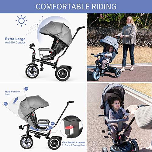 besrey Dreirad 7-in-1 Kinder Fahrrad mit 360° Drehsitz Luftkammerrad Liegefunktion ab 9 Monate bis 6 Jahre Regenschutz - Grau