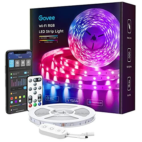Govee Striscia LED WiFi, Smart 5m RGB Compatibile con Alexa e Google Assistant, App Controllato Musica, Multicolore per casa, Bar, Festa,12V 1.5A