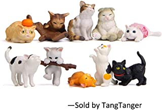 TangTanger 10 pcs (1 set) Kawaii Animal Cat Characters Toys Mini Figure Collection Playset, Cake Topper, Plant, Automobile decoration