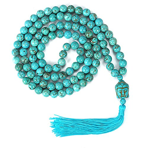 Father's Day Gift Yoga Meditation 108 Tibetan 8mm Natural Turquoise Gemstone Prayer Buddha Mala Beads Wrap Bracelet Necklace (Natural Turquoise)