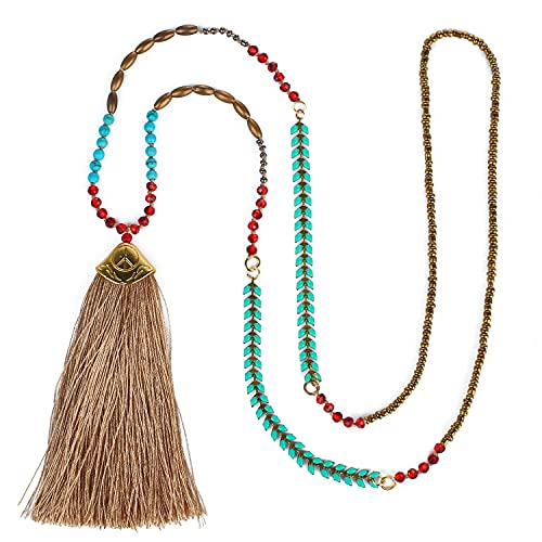 C·QUAN CHI Collar de hebras de Cuentas de Cristal para Mujer Collar de Turquesa Collar de borlas Bohemias para Mujeres Cadenas