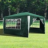 wolketon 3x4m Gartenpavillon Stabiles Hochwertiges Festzelt Pavillion UV-Schutz Garten Strand Partyzelt Grün mit 4 Seitenteilen Praktischer Zelt