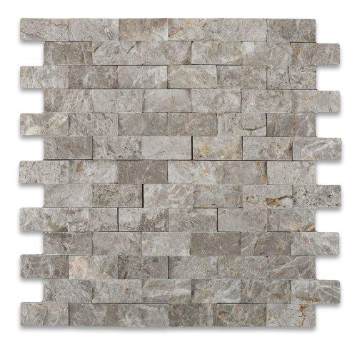 SILVERADO GRAY 1X2 Marble SPLIT-FACED Mosaic Tile