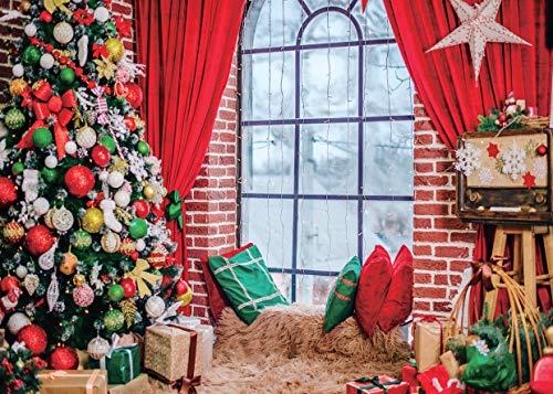 AIIKES 7x5FT Navidad Telón de Fondo Almohada Invierno Ventana Árbol Acebo Regalo Alfombra Cortina Fondo Decoración Fiesta Navidad Fondo Bebé Retrato un Adulto Fotografía Estudio Fondos 11-699