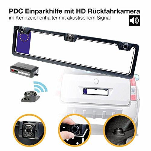 HaWoTEC PDC Einparkhilfe mit HD Rückfahrkamera im Nummernschild Kennzeichenhalter Rückfahrwarner 2 schwarz lackierten Sensoren mit KFZ Kamera Alarm Ton