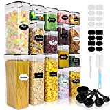 Airtight Food Storage Containers Set, 16PCS BPA Free Plastic Dry Food Canisters with Lids, Kitchen Pantry Organization, Ideal for Organizing Cereal, Flour - 16 Labels, Marker, Spoon Set&Clean Brush