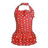 MSemis Little/Big Girls One Piece Adjustable Polka Dot Bathing Suit Ruffle Skirted Swimwear Swim Dress Red 11-12