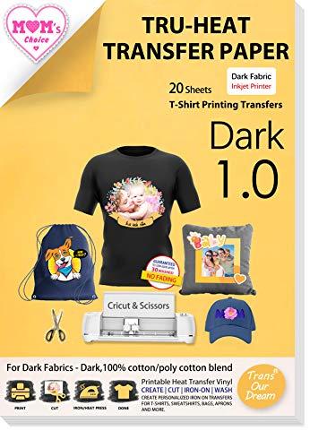 TransOurDream Real - Papel de Transferencia Térmica Para Camisetas y Tejidos Oscuros(A4x20 Hojas)Fácil de Usar, Compatible con Impresoras de Inyección de Tinta, ES-3-20
