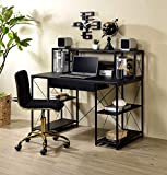 Binrrio Wall-Mounted Computer Desk, Storage Tray Floating Desk, Wood Compact Home Office Desk, Laptop PC Table Writing Study Table, Workstation with Storage Drawer & Shelves (Black)