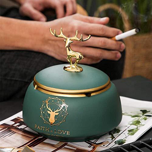 W-SHTAO L-WSWS Cenicero para cenicero interior con tapa, cenicero antimosca, cenicero para sala de estar, ciervos con cubierta
