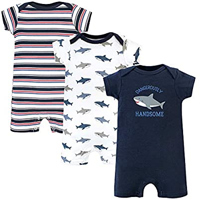 Hudson Baby Unisex Cotton Rompers, Shark, 18-24 Months by Hudson Baby