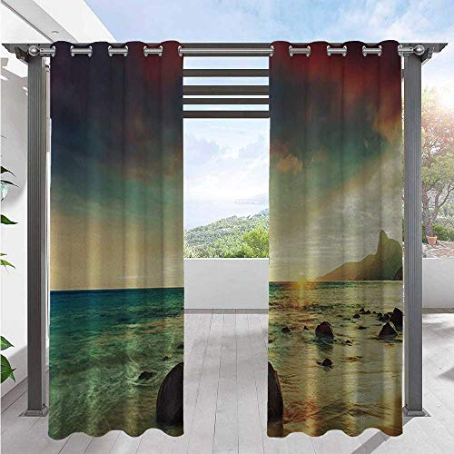 Patio Curtain Sunrise Over The Sea Tropical Water Summer Beach with Rock and Dramatic Sky Nature Porch Decor Privacy Curtain Pleasing to The Eye, Durable Blue Cream W108 x L96 Inch