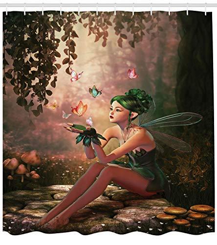 123456789 Feen-Duschvorhang mit Flügeln & Schmetterlingen, für Badezimmer